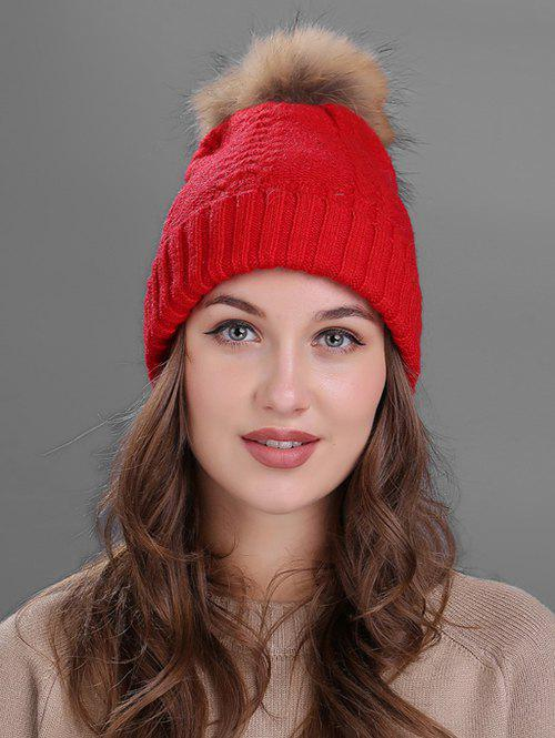 Crochet Flanging Pom Ball Knitting Hat - RED