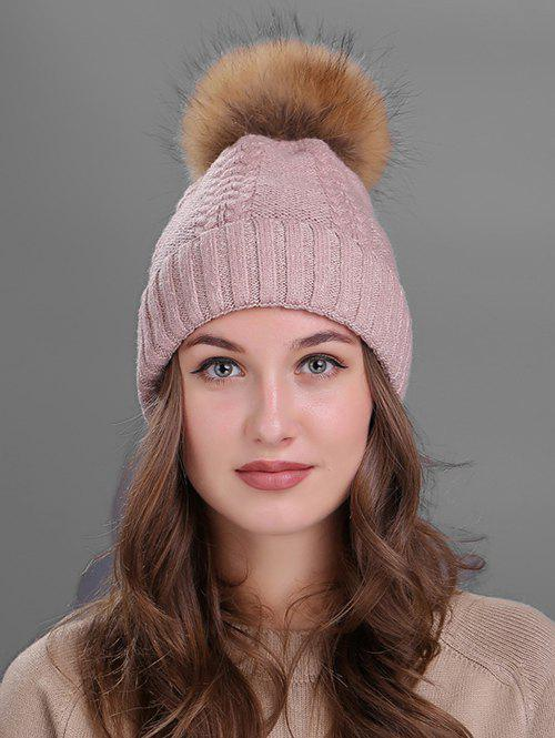 Crochet Flanging Pom Ball Knitting Hat - PINK