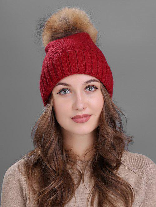 Crochet Flanging Pom Ball Knitting Hat - BURGUNDY