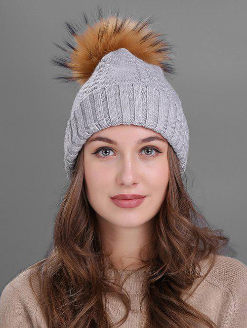 Crochet Flanging Pom Ball Knitting Hat - LIGHT GRAY