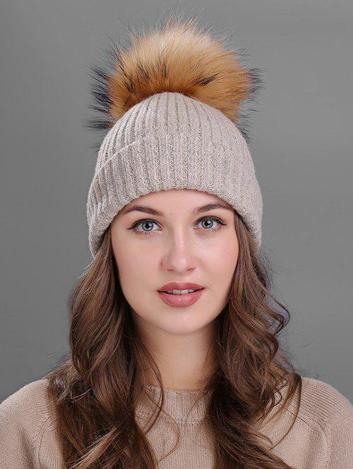 Outdoor Fuzzy Ball Decorated Flanging Knit Beanie - KHAKI