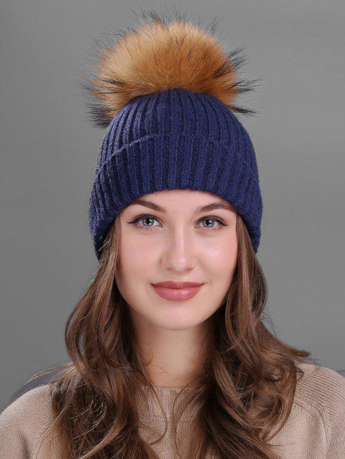 Outdoor Fuzzy Ball Decorated Flanging Knit Beanie - CADETBLUE