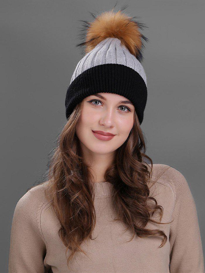 Outdoor Fur Pom Ball Decorated Knitted Beanie