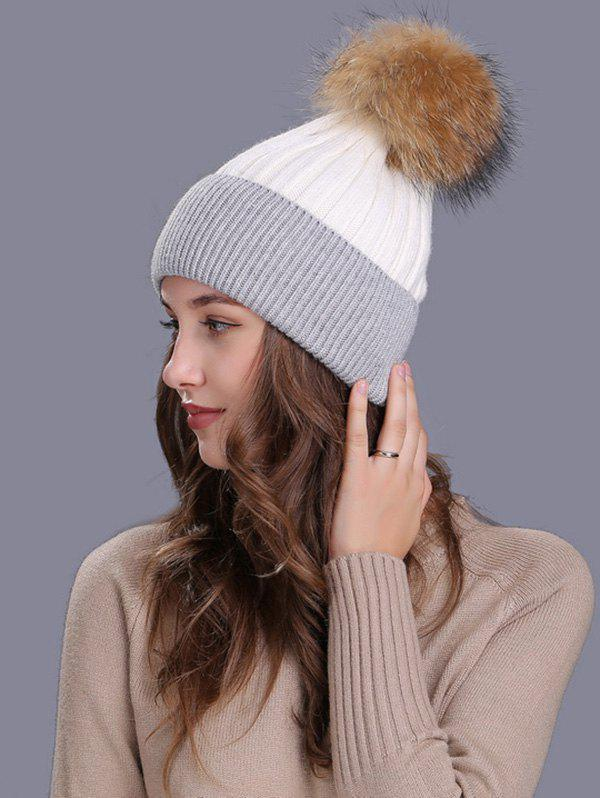 Outdoor Fur Pom Ball Decorated Knitted Beanie - WHITE