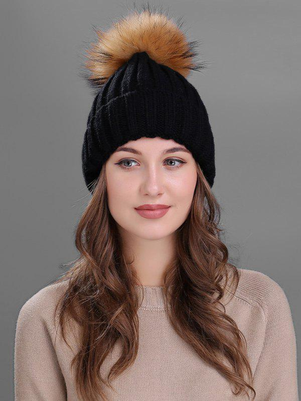 Soft Fur Pom Ball Decorated Flanging Knitted Beanie футболка q s designed by q s designed by qs006ewwem29