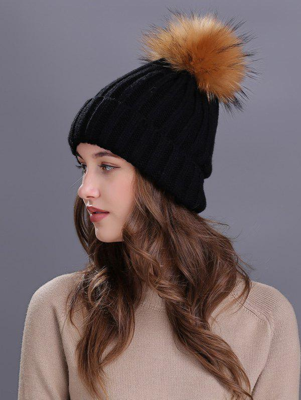 Soft Fur Pom Ball Decorated Flanging Knitted Beanie - BLACK