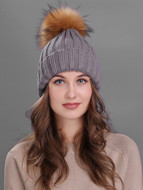 Soft Fur Pom Ball Decorated Flanging Knitted Beanie