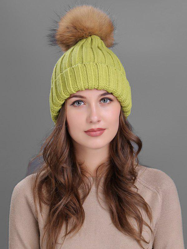 Soft Fur Pom Ball Decorated Flanging Knitted Beanie - GREEN