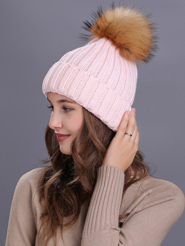 Soft Fur Pom Ball Decorated Flanging Knitted Beanie - PINK