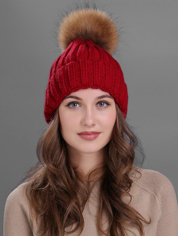 Soft Fur Pom Ball Decorated Flanging Knitted Beanie - WINE RED