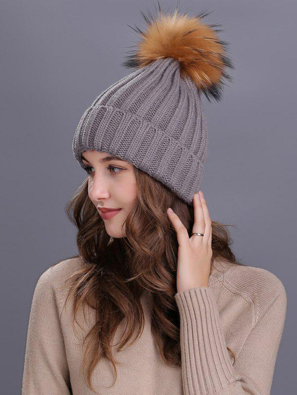 Soft Fur Pom Ball Decorated Flanging Knitted Beanie - GRAY