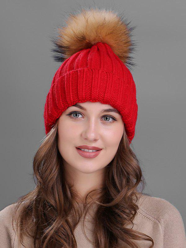 Soft Fur Pom Ball Decorated Flanging Knitted Beanie - RED