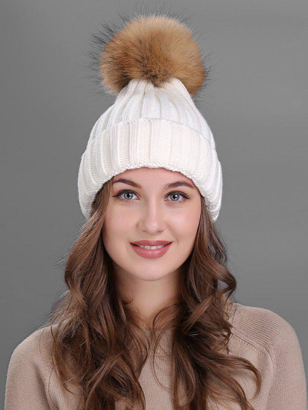 Soft Fur Pom Ball Decorated Flanging Knitted Beanie 2017 special offer solid new arrival winter fur caps genuine mink women knitted ear hat with fox ball pom poms female hats