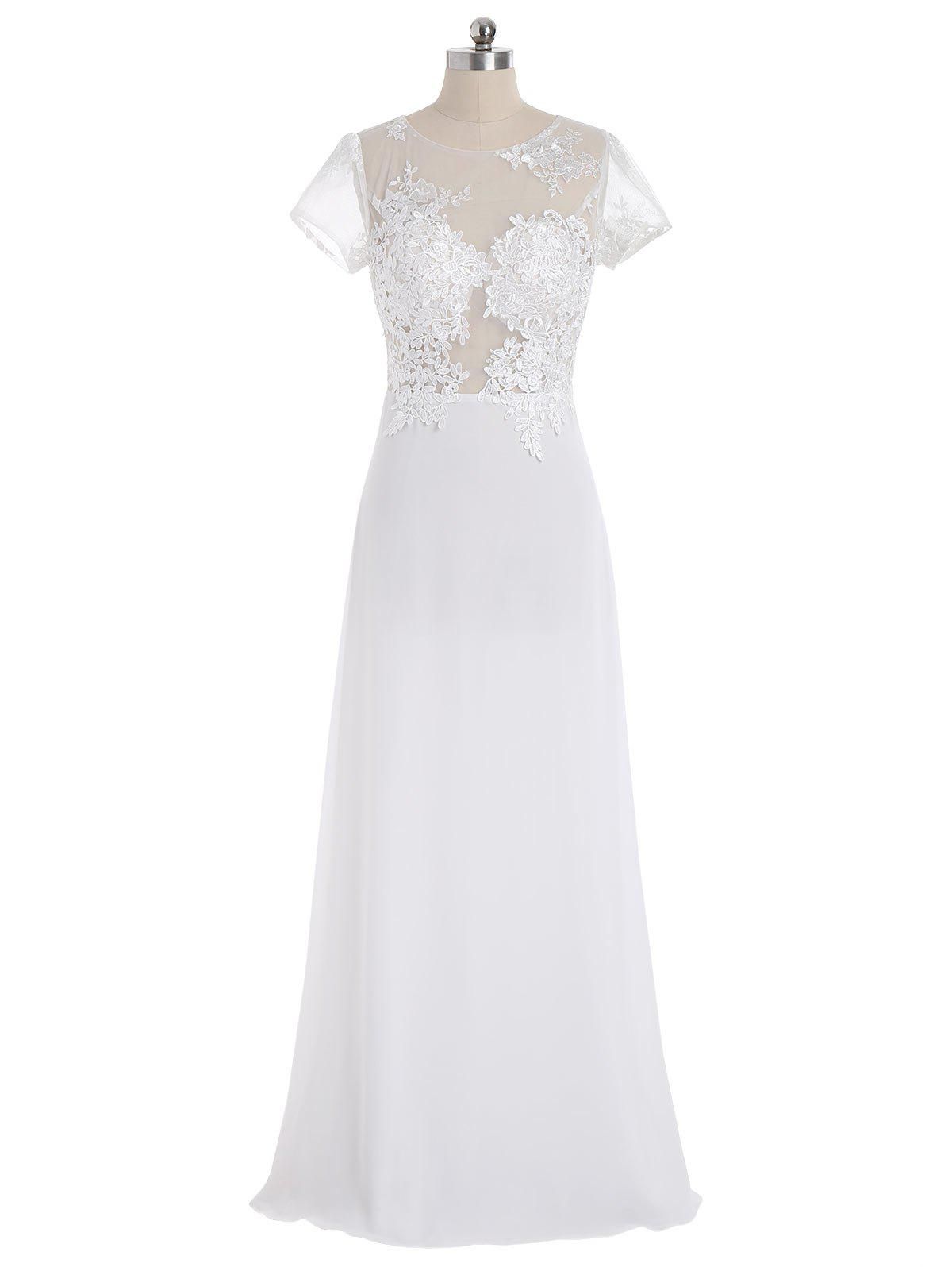 Sheer Mesh Yoke Maxi Evening Dress - WHITE L