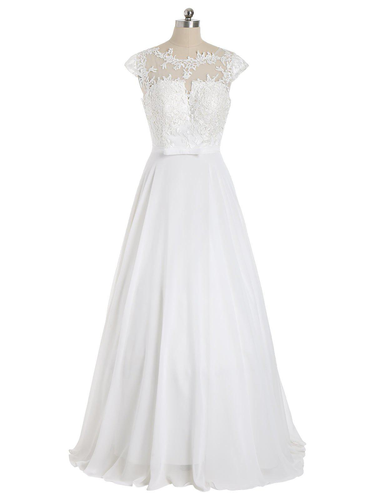 Cap Sleeve Lace Panel Bowknot Evening Dress - WHITE XL