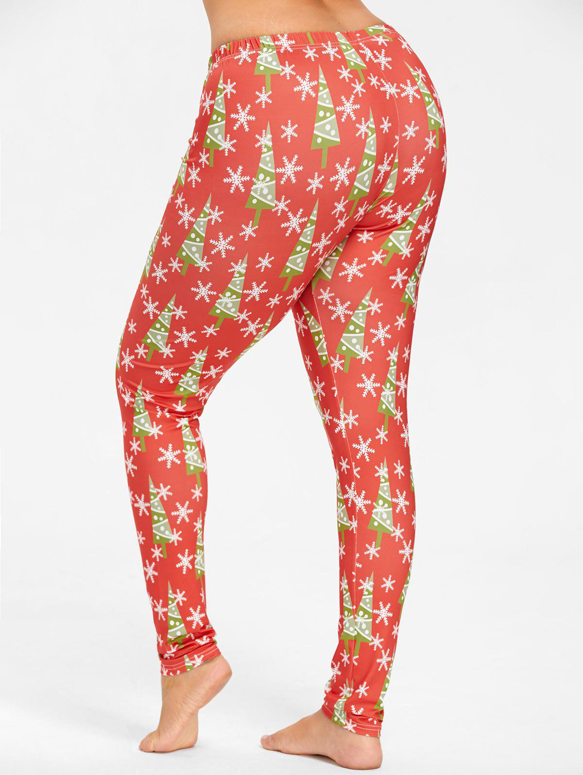 Plus Size Christmas Tree Snowflake Printed Slim Pants - RED 3XL