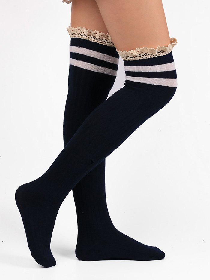 Pair of Lace Edge Hemp Embellished Striped Knee High Socks - PURPLISH BLUE
