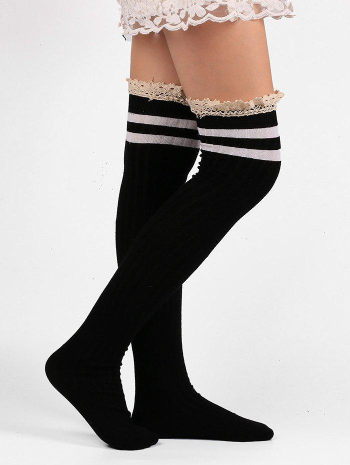 Pair of Lace Edge Hemp Embellished Striped Knee High Socks r bao 3 pair of lot men women leg support stretch outdoor sports socks knee high compression socks running long socks