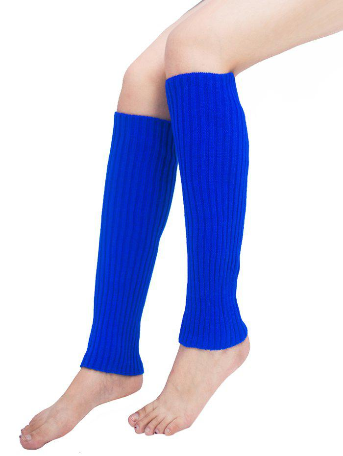 Vintage Striped Pattern Knit Leg Warmers - ROYAL