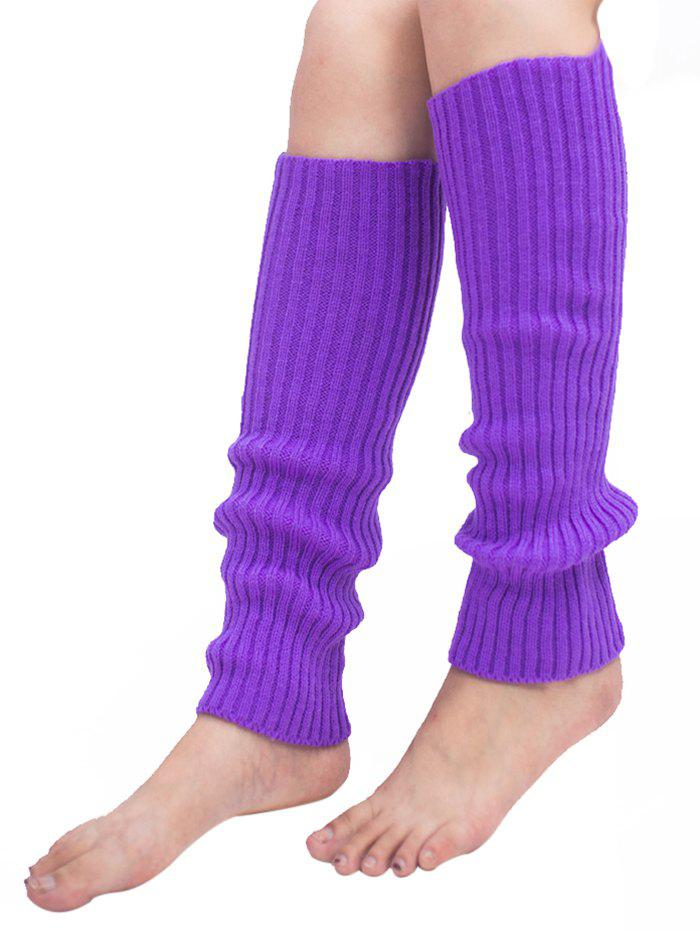 Vintage Striped Pattern Knit Leg Warmers - PURPLE