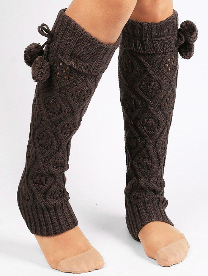 Rhombus Hollow Out  Embellished Knitted Leg Warmers - DEEP GRAY