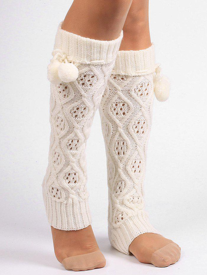 Rhombus Hollow Out  Embellished Knitted Leg Warmers - WHITE