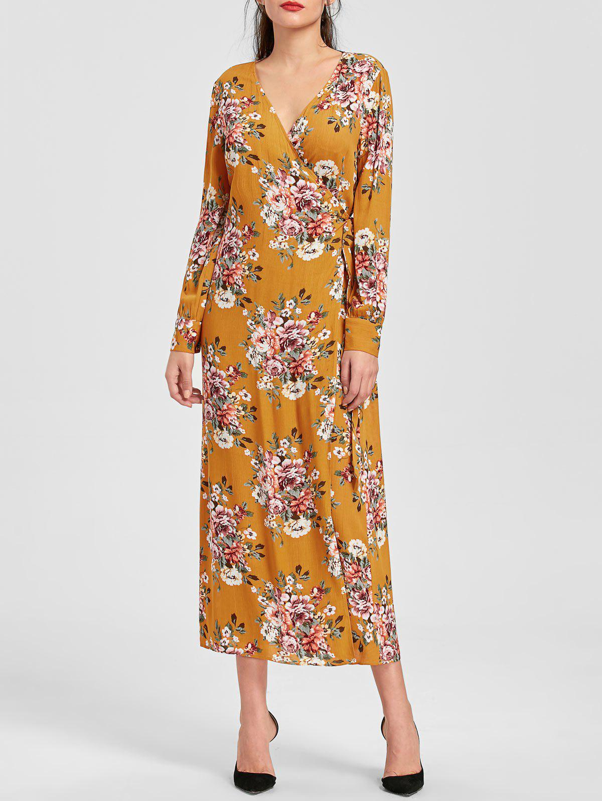 Long Sleeve Floral Print Maxi Wrap Dress - EARTHY L