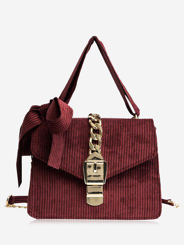 Bow Chain Buckle Strap Crossbody Bag - RED