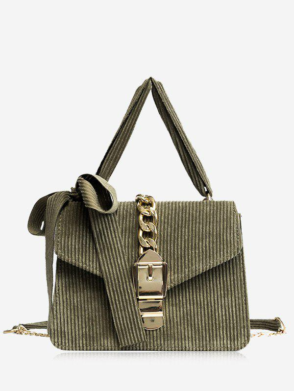 Bow Chain Buckle Strap Crossbody Bag - GREEN