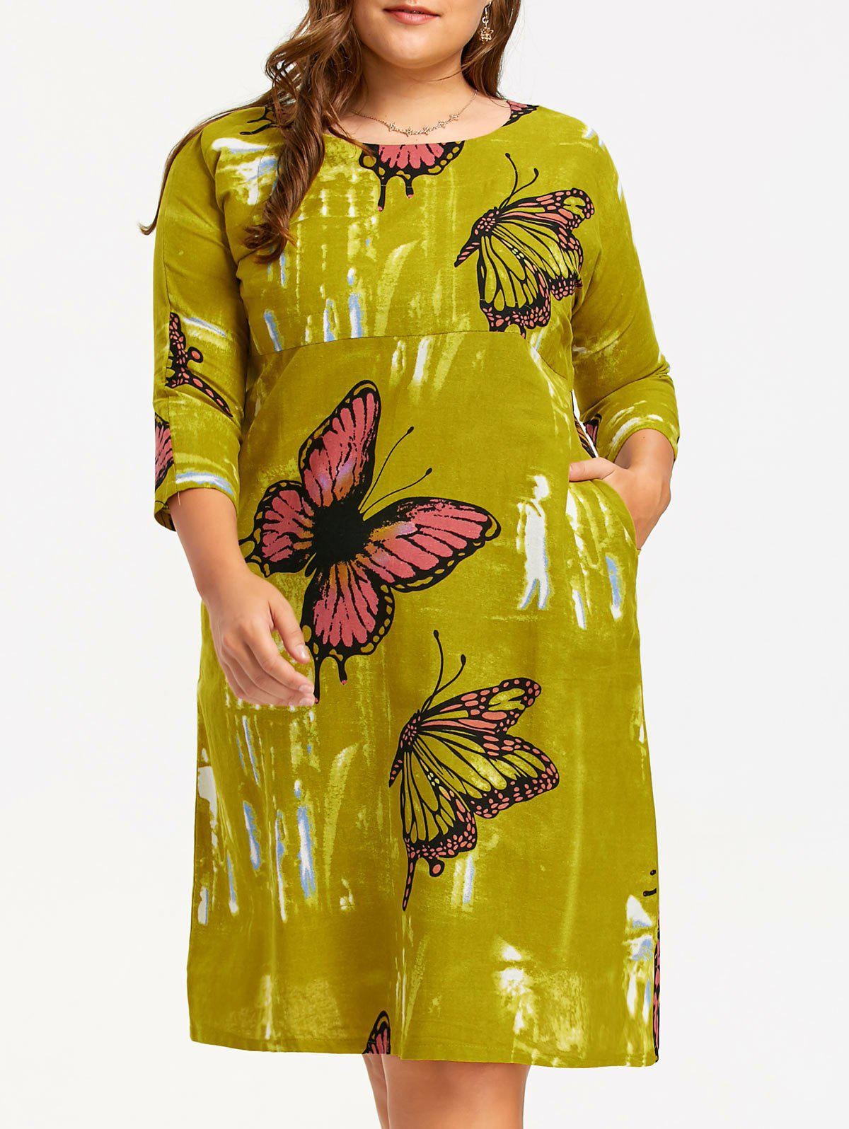 Plus Size Butterfly A Line Midi Dress - YELLOW ONE SIZE