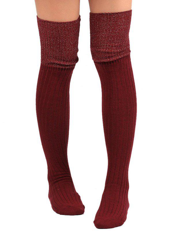 Plain Ribbed Knit Stockings - WINE RED