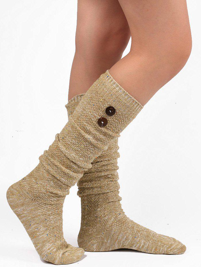 Button Decorated Knitted Stockings - LIGHT KHAKI