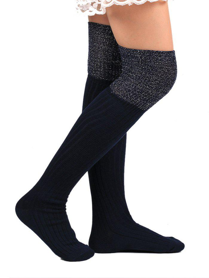 Plain Ribbed Knit Stockings - PURPLISH BLUE