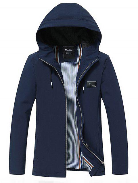 Figure Rubber Patched Hooded Jacket - BLUE L