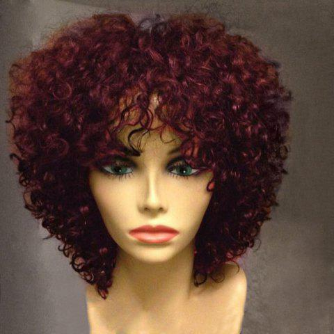 Short Side Fringe Fluffy Afro Curly Synthetic Wig - WINE RED