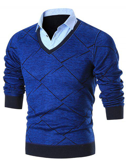 Shirt Collar Knitted False Two Piece Sweater - BLUE XL