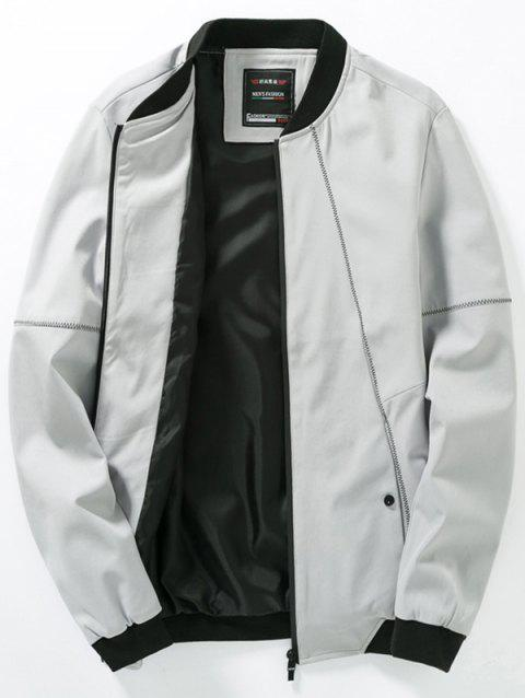 Casual Stitching Design Zip Up Bomber Jacket - GRAY 5XL