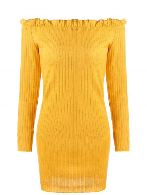 Off The Shoulder Ribbed Knit Dress - EARTHY L