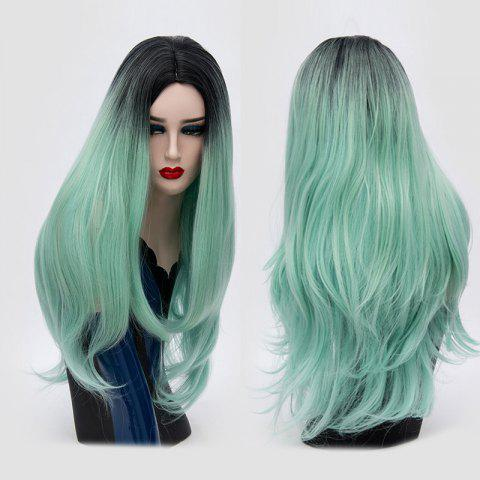 Center Parting Ombre Long Slightly Curly Synthetic Party Wig - MINT