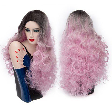 Middle Part Fluffy Colormix Long Curly Party Synthetic Wig - BLACK/PINK