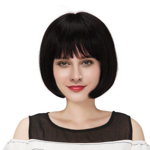 Short Neat Bang Straight Bob Real Human Hair Wig - BLACK