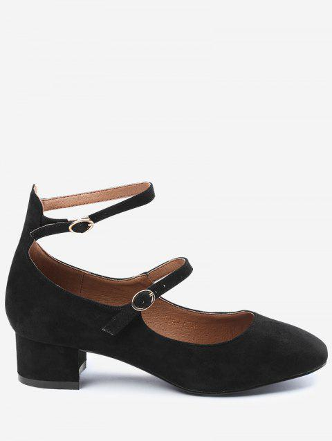 Ankle Strap Buckle Straps Pumps - BLACK 39