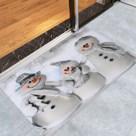 Christmas Snowmen Family Pattern Indoor Outdoor Area Rug - GREY WHITE W24 INCH * L35.5 INCH