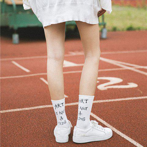 Art Is Not A Crime Pattern Tube Socks - WHITE