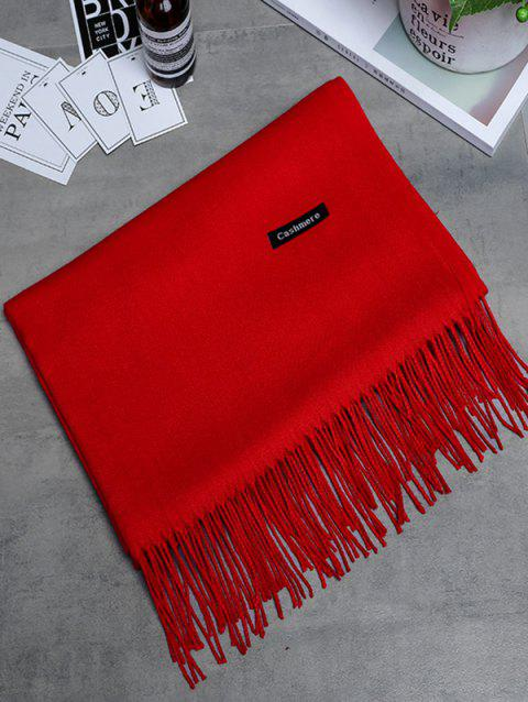 Vintage Faux Cashmere Blanket Scarf with Fringed Edge - BRIGHT RED