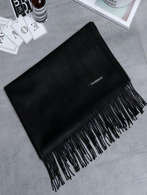 Vintage Faux Cashmere Blanket Scarf with Fringed Edge - BLACK