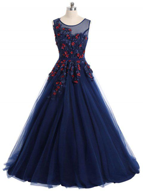 Floral Applique Mesh Overlay Sleeveless Evening Dress - PURPLISH BLUE M