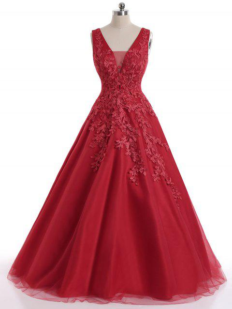 Floral Applique Mesh Sleeveless Maxi Evening Dress - RED L