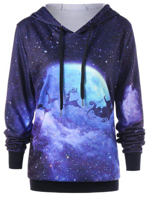 8835fbb76600f 17% OFF  2019 Christmas Plus Size Galaxy Reindeer Hoodie In COLORMIX ...