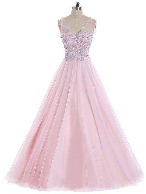 Floral Applique V Neck Mesh Panel Evening Dress - BRIGHT PINK L